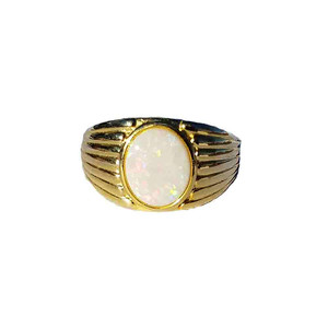 ELECTRIC SNOW 18kt GOLD PLATED SOLID WHITE OPAL RING