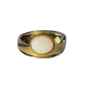 GREEN SHIMMER 18kt GOLD PLATED SOLID WHITE OPAL RING