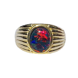 RED RUSH 18kt GOLD PLATED OPAL RING