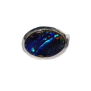 BLUE STRIKE STERLING SILVER OPAL RING