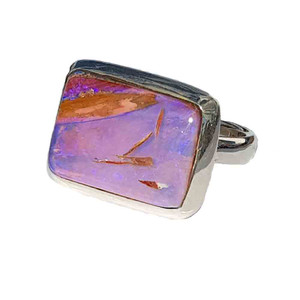 SEE THROUGH PURPLE STERLING SILVER OPAL RING