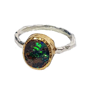GREEN NIGHT MIRACLE STERLING SILVER & 18KT GOLD PLATED OPAL RING