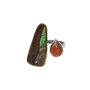SANDY RIVER BED STERLING SILVER & 18KT GOLD PLATED OPAL RING