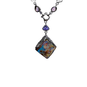 GLAMOUR BOULDER STERLING SILVER OPAL NECKLACE