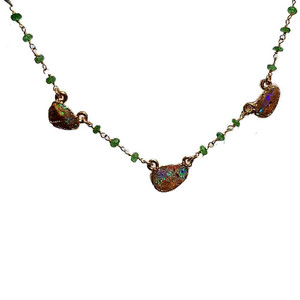 THREE GREEN STONE 18KT GOLD PLATED OPAL NECKLACE