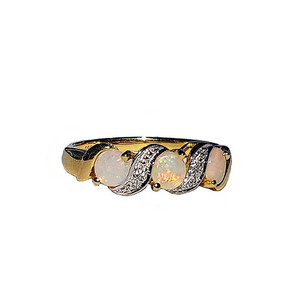 THREE MOON LOVE 18KT GOLD PLATED OPAL RING