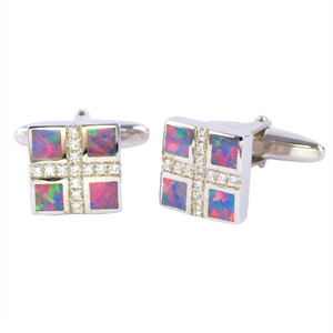 LOVE & AFFECTION STERLING SILVER OPAL CUFFLINKS