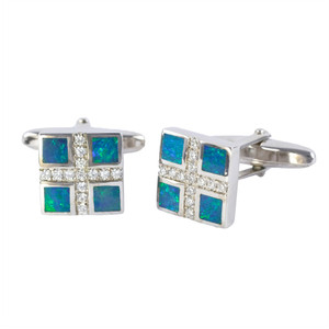 LOVE AFFAIR STERLING SILVER OPAL CUFFLINKS