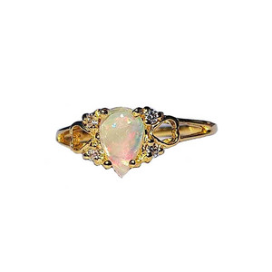 NIGHT ROMANCE 18KT GOLD PLATED OPAL RING