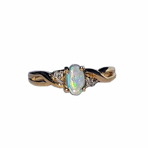 SIMPLE LOVE 9KT GOLD WHITE OPAL RING