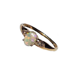 MIRACLE SUNSET 9KT GOLD WHITE OPAL RING
