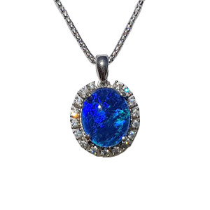 BLUE MAGIC FLOWER STERLING SILVER OPAL NECKLACE