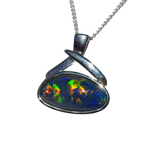 ELECTRIC DANCE STERLING SILVER OPAL NECKLACE