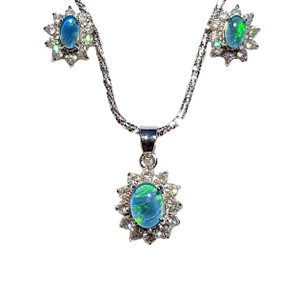 FLOWERING BLUE BLOSSOM STERLING SILVER OPAL JEWELRY SET