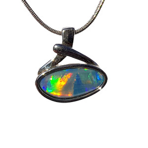 RAINBOW MIRACLE STERLING SILVER OPAL NECKLACE