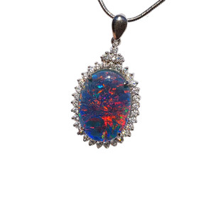 ELECTRIC FIRE FLAMES STERLING SILVER OPAL NECKLACE