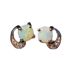 BRIGHT SUN STERLING SILVER OPAL EARRINGS