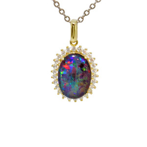 ROYAL GARDENS 18KT GOLD PLATED NATURAL AUSTRALIAN OPAL NECKLACE WITH CUBIC ZIRCONIA