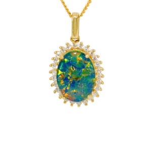 JEWEL OF THE REEF 18KT GOLD PLATED NATURAL AUSTRALIAN OPAL NECKLACE WITH CUBIC ZIRCONIA