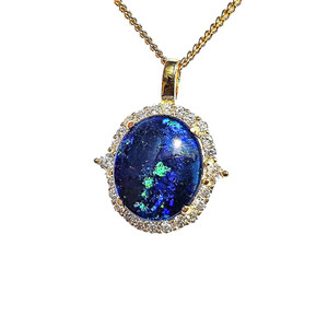 MILKEYWAY WONDER 18KT GOLD PLATED NATURAL AUSTRALIAN OPAL NECKLACE WITH CUBIC ZIRCONIA
