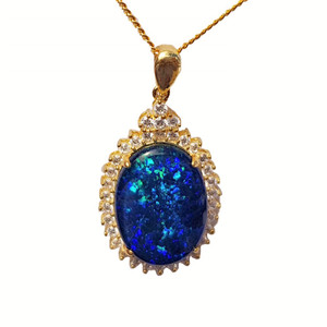 REMNANT OF ATLANTIS 18KT GOLD PLATED NATURAL AUSTRALIAN OPAL NECKLACE WITH CUBIC ZIRCONIA