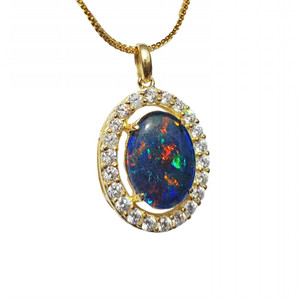 ETHEREAL GEM 18KT GOLD PLATED NATURAL AUSTRALIAN OPAL NECKLACE WITH CUBIC ZIRCONIA