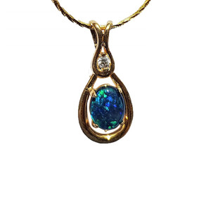ECSTATIC TEARS 18KT GOLD PLATED NATURAL AUSTRALIAN OPAL NECKLACE WITH CUBIC ZIRCONIA