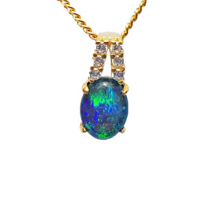 NEPTUNE CANVAS 18KT GOLD PLATED NATURAL AUSTRALIAN OPAL NECKLACE WITH CUBIC ZIRCONIA