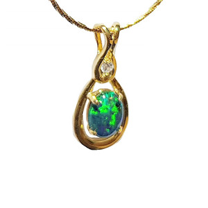 ENCHANTED FOREST 18KT GOLD PLATED NATURAL AUSTRALIAN OPAL NECKLACEWITH CUBIC ZIRCONIA