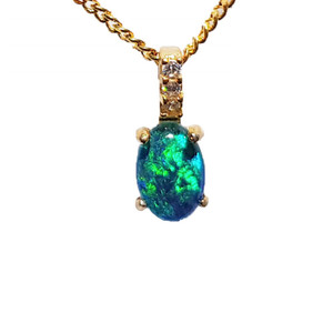 CARIBBEAN DROPLET 18KT GOLD PLATED NATURAL AUSTRALIAN OPAL NECKLACE WITH CUBIC ZIRCONIA