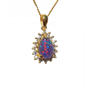 AMAZING STARGAZE FIRE 18KT GOLD PLATED NATURAL AUSTRALIAN OPAL NECKLACEWITH CUBIC ZIRCONIA