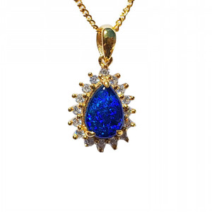 AMAZING STARGAZE 18KT GOLD PLATED NATURAL AUSTRALIAN OPAL NECKLACE WITH CUBIC ZIRCONIA