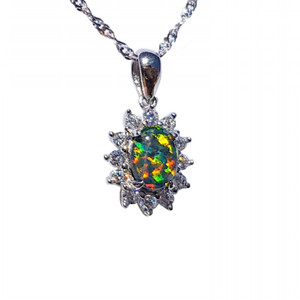 AN EVERLASTING BLOOM STERLING SILVER NATURAL AUSTRALIAN OPAL NECKLACE WITH CUBIC ZIRCONIA