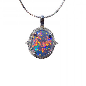 BRIGHT RED JUNGLE STERLING SILVER NATURAL AUSTRALIAN OPAL NECKLACE WITH CUBIC ZIRCONIA
