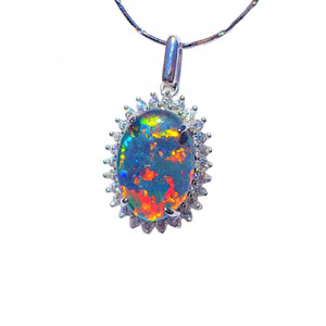 IRIDESCENT CLOUDS STERLING SILVER NATURAL AUSTRALIAN OPAL NECKLACE WITH CUBIC ZIRCONIA