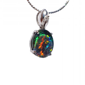 1 DRAGONFLY STERLING SILVER NATURAL AUSTRALIAN OPAL NECKLACE WITH CUBIC ZIRCONIA