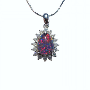 RED DIAMOND GLORY SERLING SILVER NATURAL AUSTRALIAN OPAL NECKLACE WITH CUBIC ZIRCONIA