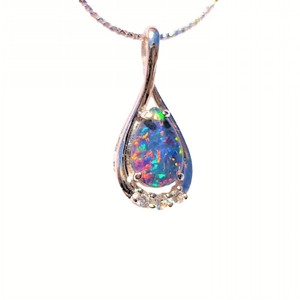 ELEGANT DROP RED STERLING SILVER NATURAL AUSTRALIAN OPAL NECKLACE