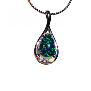 ELEGANT DROP GREEN STERLING SILVER NATURAL AUSTRALIAN OPAL NECKLACE