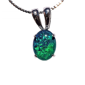 OCEAN BOTTOM STERLING SILVER NATURAL AUSTRALIAN OPAL NECKLACE