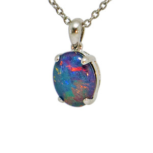 RADIANT SUNSET STERLING SILVER NATURAL AUSTRALIAN OPAL NECKLACE