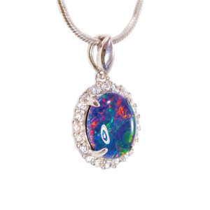 ASTONISHING SUNSET SURPRISE STERLING SILVER NATURAL AUSTRALIAN OPAL NECKLACE
