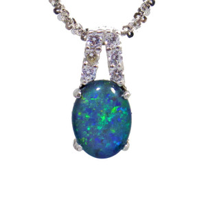 BLUE BRILLIANCE SURPRISE STERLING SILVER NATURAL AUSTRALIAN OPAL NECKLACE