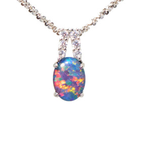 SUN SPLASH STERLING SILVER NATURAL AUSTRALIAN OPAL NECKLACE