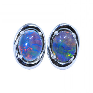 SWIRLY DUSK STERLING SILVER NATURAL AUSTRALIAN NATURAL AUSTRALIAN OPAL EARRINGS