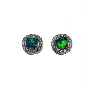 CROWN ELEGANCE STERLING SILVER AND CUBIC ZIRCONIA NATURAL AUSTRALIAN OPAL EARRINGS