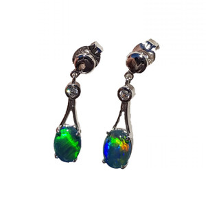 DREAMY PARADISE STERLING SILVER AND CUBIC ZIRCONIA DROP NATURAL AUSTRALIAN OPAL EARRINGS
