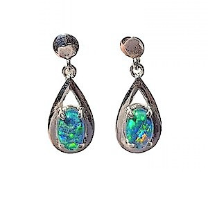 SPRING LOVE STERLING SILVER DROP NATURAL AUSTRALIAN OPAL EARRINGS