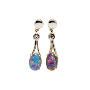 ETHEREAL JOURNEY STERLING SILVER AND CUBIC ZIRCONIA DROP NATURAL AUSTRALIAN OPAL EARRINGS