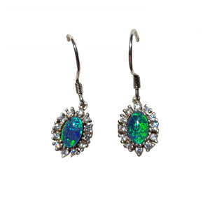 BLUE AQUARELLE STERLING SILVER DROP NATURAL AUSTRALIAN OPAL EARRINGS